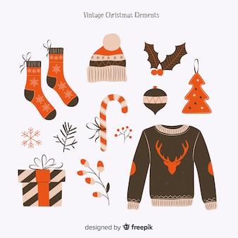 Schöne weihnachtselement-kollektion mit vintage-design