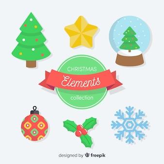 Schöne weihnachtselementsammlung mit flachem design
