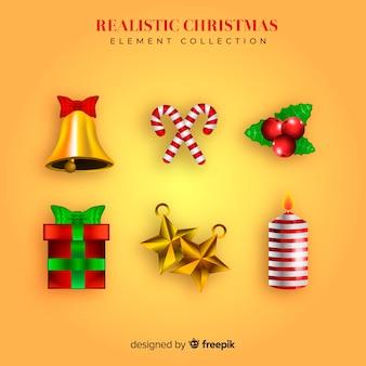 Schöne weihnachtselementsammlung mit realistischem design