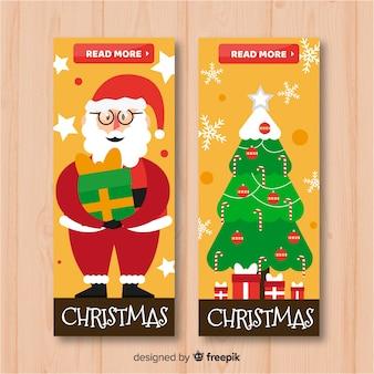 Schöne weihnachtsfahnen im flachen design
