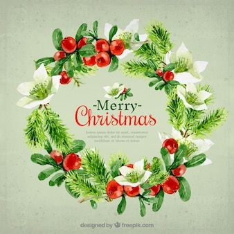 Schöne weihnachtskarte kranz in aquarelleffekt