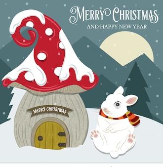 Schöne weihnachtskarte mit gome haus und kaninchen. flaches design. vektor