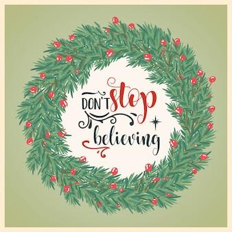 Schöne weihnachtskarte mit kranz und wünschen