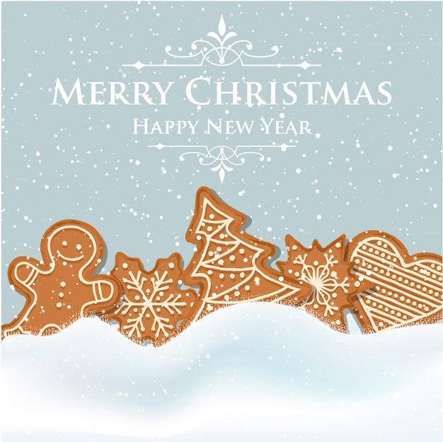 Schöne weihnachtskarte mit lebkuchen