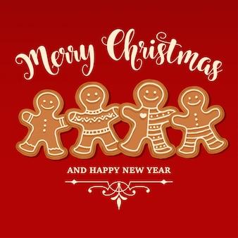 Schöne weihnachtskarte mit lebkuchenfamilie
