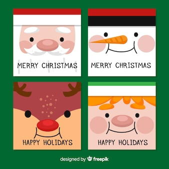 Schöne weihnachtskartensammlung mit flachem design