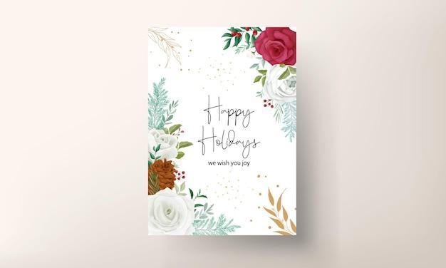 Schöne weihnachtskartenschablone mit schönem blumen- und goldglitter