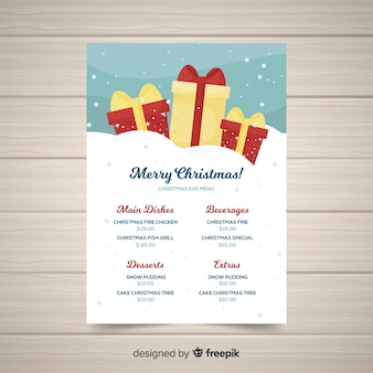 Schöne weihnachtsmenüschablone mit flachem design