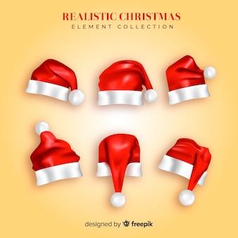 Schöne weihnachtsmütze kollektion mit realistischem design