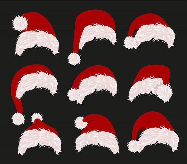 Schöne weihnachtsmützen gesetzt