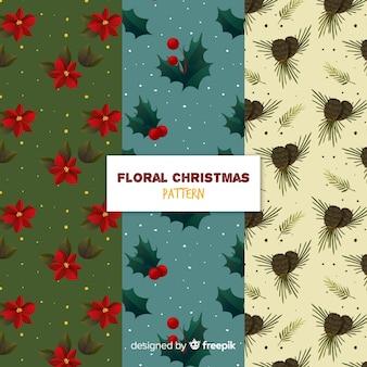 Schöne weihnachtsmustersammlung mit blumenart