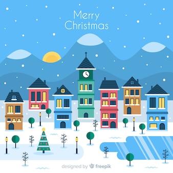 Schöne weihnachtsstadt mit flachem design