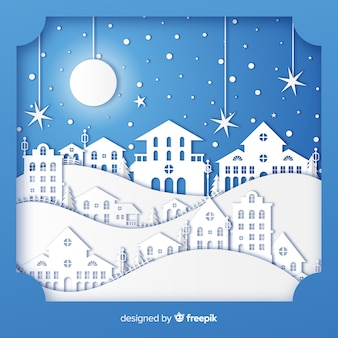 Schöne weihnachtsstadt mit papierstil