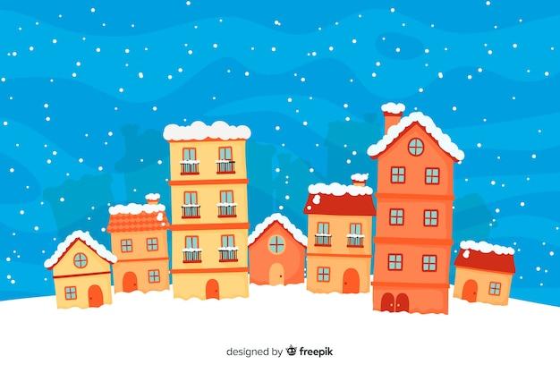 Schöne weihnachtsstadthand ertrinken art