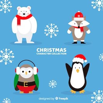 Schöne weihnachtszeichensammlung mit flachem design