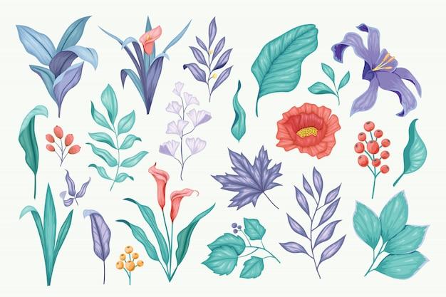 Schöne weinlesehand gezeichnete blumenvektorsammlung