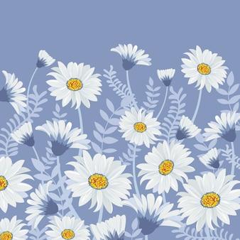 Schöne weiße blume und blaues blatt im garten.