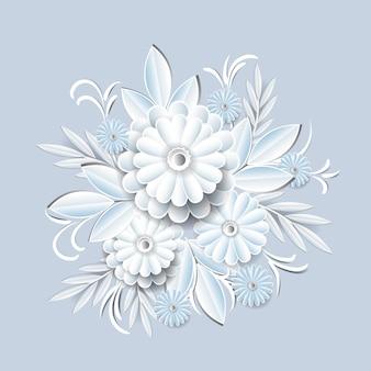 Schöne weiße blumen getrennt. blumenschmuck element
