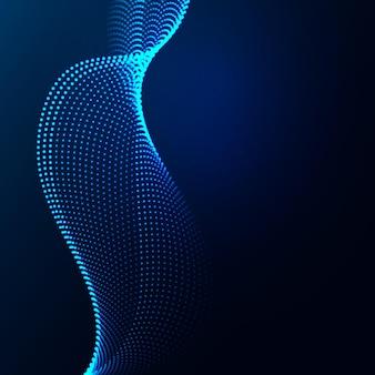 Schöne wellenförmige anordnung der leuchtenden punkte. abstraktes gestaltungselement.