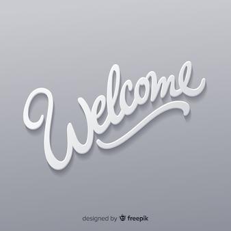 Schöne willkommens-komposition mit origami-stil