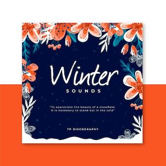 Schöne winter-cd-abdeckung mit blumen