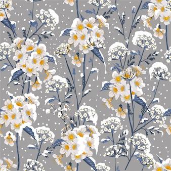 Schöne winterblume, die im nahtlosen blumenmuster des schnees zart blüht