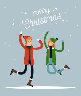 Schöne winterferien. warm gekleidete leute im sprung. frohe chrismas berufung. illustration