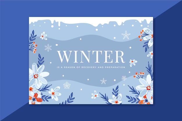 Schöne winterkarte mit blumen