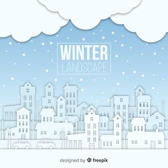 Schöne winterlandschaft mit flachem design