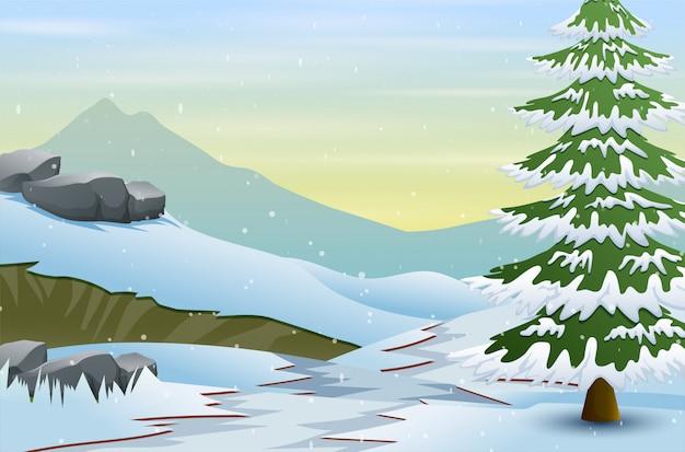 Schöne winterlandschaft mit schnee umfasste feld