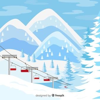 Schöne winterlandschaft zusammensetzung