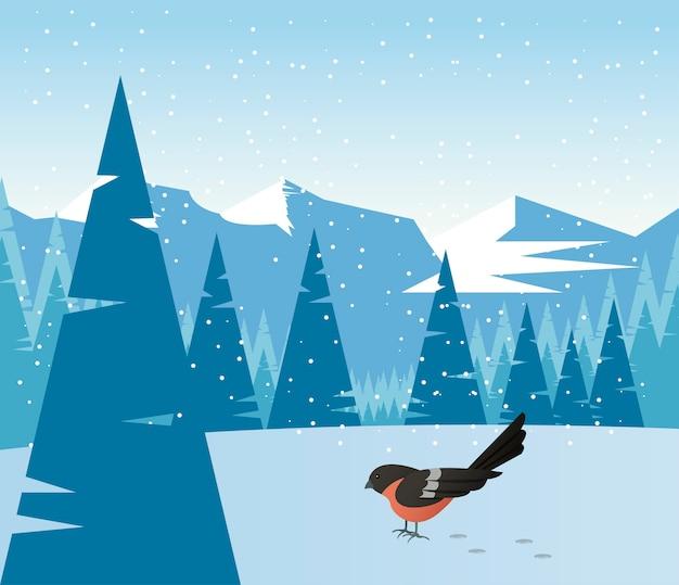 Schöne winterlandschaftsszene mit vogel- und waldillustration