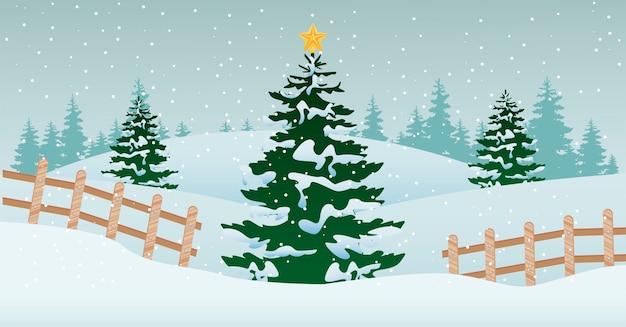 Schöne winterlandschaftsszene mit weihnachtsbaum- und zaunillustration