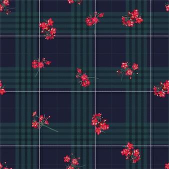 Schöne winterschwarzwäsche-schottenstoffschicht auf nahtlosem muster der roten kleinen blumen im vektor, im design für mode, im gewebe, in der tapete und in allen drucken
