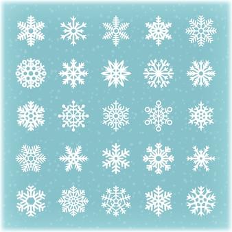 Schöne wintervektorschneeflocken für weihnachtskarte und -hintergründe. schneeflockenkristall, gefrorene sternwinterschnee-sammlungsillustration