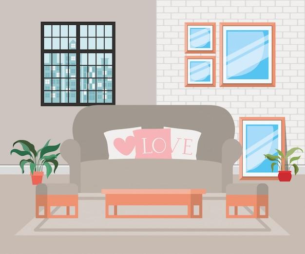 Schöne wohnzimmerhausszene