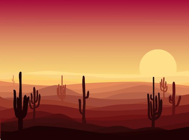 Schöne wüstenlandschaftsschablone
