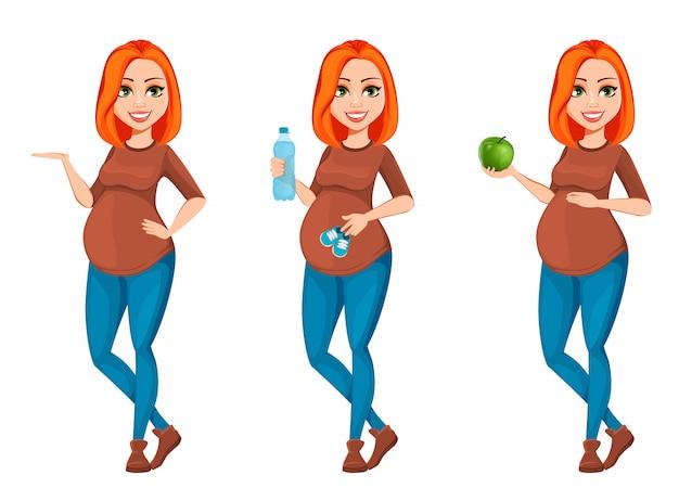 Schöne zeichentrickfilm-figur der schwangeren frau
