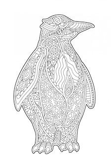 Schöne zenkunst mit dekorativem karikaturpinguin