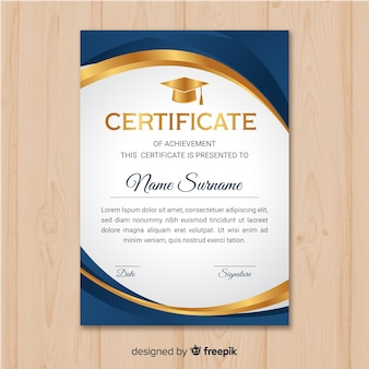 Schöne zertifikatvorlage mit goldenen elementen