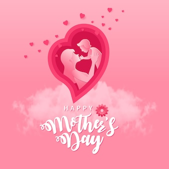 Schönen muttertag. grußkartenillustration der mutter und des babys innerhalb des papierschnittes rosa herzform