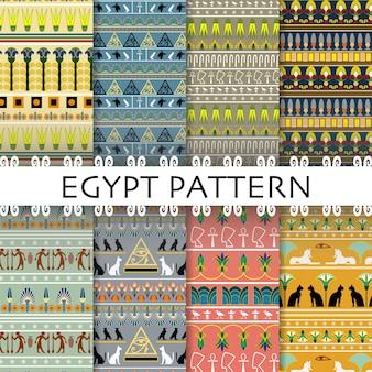 Schöner ägypten-muster-gesetzter sammlungs-hintergrund