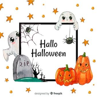 Schöner aquarell halloween-rahmen