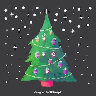 Schöner aquarell-weihnachtsbaum