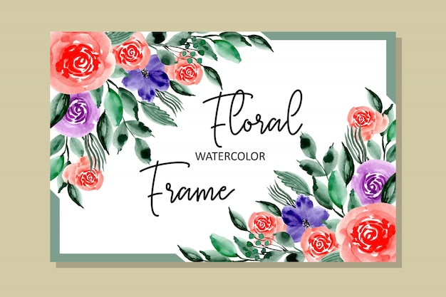 Schöner aquarellblumenrahmen
