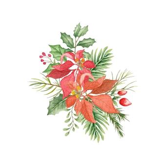 Schöner aquarellblumenstrauß für weihnachts- und neujahrsdekorationen