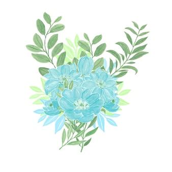Schöner aquarellblumenstrauß mit blauen blumen