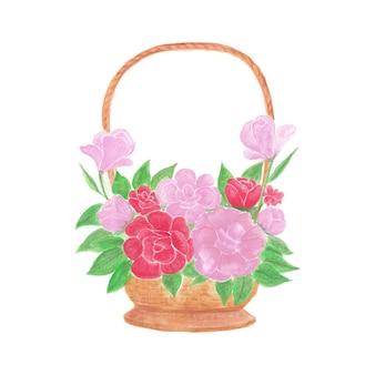 Schöner aquarellblumenstrauß mit roten oder rosa blüten