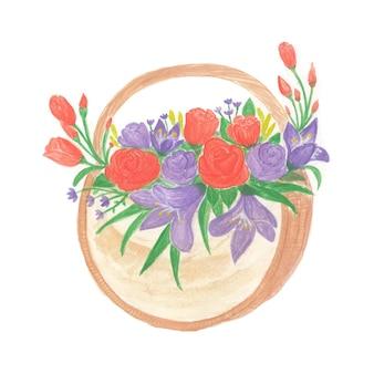 Schöner aquarellblumenstrauß mit roten und lila blüten Premium Vektoren