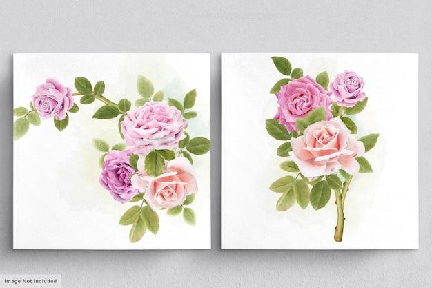 Schöner aquarellstrauß von rosen